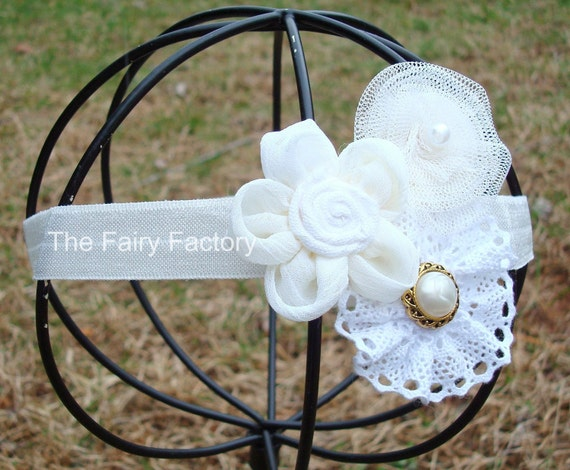 White and Ivory Pearl Chiffon Lace & Tulle Rosettes Trio Stretchy Headband - Vintage Inspired - Infant Baby Toddler Girls Headband - 1 LEFT