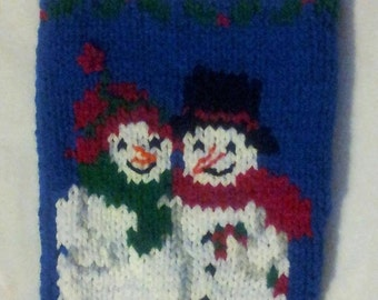 Hand Knitted Snowman Couple Christmas Stocking