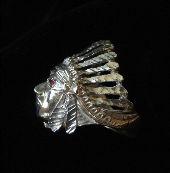 Sterling Silver Indian Chief Ring with Ruby Eyes
