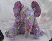 Purple Elephant with Multi Colored Flowers