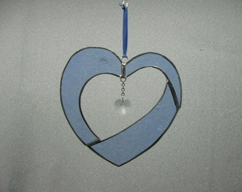 Stylized Stained Glass Heart with Swarovski Crystal