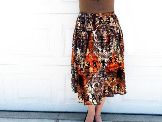 Tribal African Print Skirt Vintage 80s Brown Black Bohemian Large / XLarge