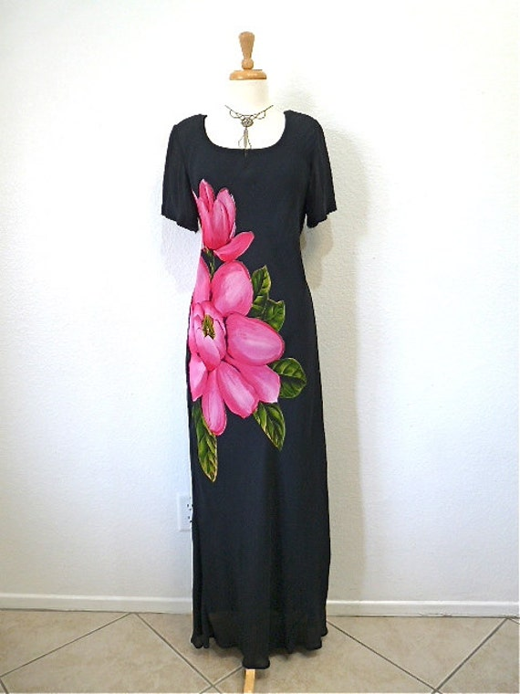 Vintage 80s Dress Exotic Pink Floral Glam Evening Party Gown Carole Little Size 12