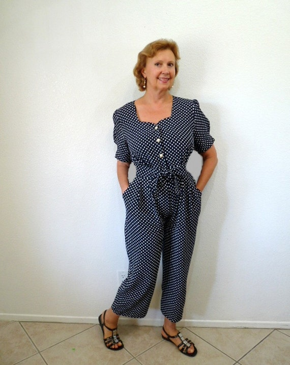 Vintage 1980s Jumpsuit Overalls Polka dot navy white S.L. Fashions Size M/L