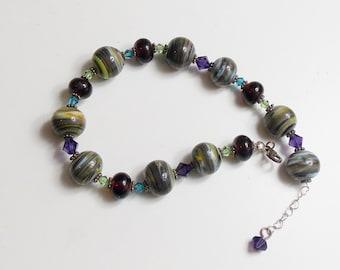 lampwork glass sterling silver bracelet