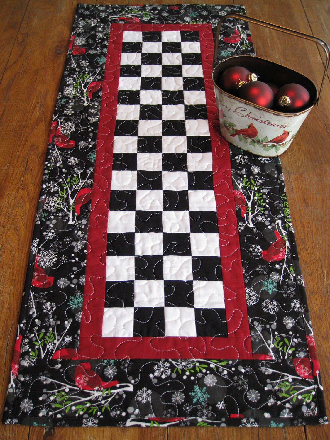 patchwork winter cardinals quilted table runner