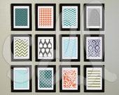 Set of 12 Modern Patterns Digital Wall Art PDF 5x7 files