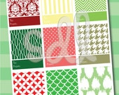 PRINTABLE PDF Christmas Gift Tags Red and Green Modern Patterns
