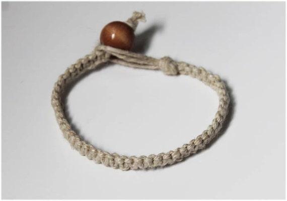 Simple Natural Colored Hemp Bracelet 1.5mm