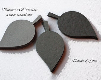 Custom 200 Paper Leaf - Apple Leaves- Shades of Grey Collection - Wedding Place Cards, Escort Cards, Leaf Die Cut