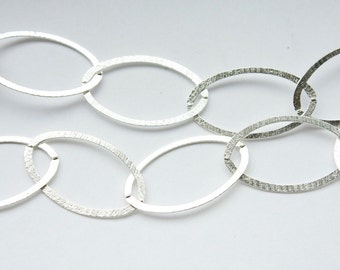 18 inches,Solid Sterling Silver Chain, Made in Italy Large Brushed Oval Links, M/RWXB090H