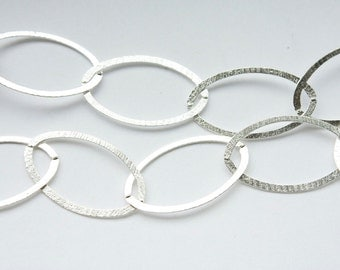 2 Feet Solid Sterling Silver Chain, Made in Italy Large Brushed Oval Links, M/RWXB090H