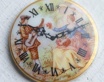 1 Vintage Fragonard Porcelain Cabochon // Rococo Pastoral Clock Faces // Jewelry Craft Supply
