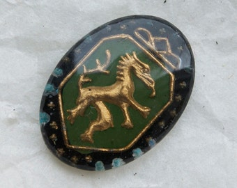 6 Vintage DRAGON CABOCHONS 50s 60s Germany 13x 18 Green or blue background