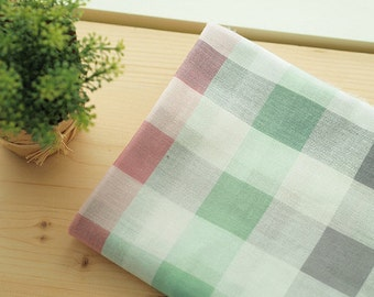 Lovely colors check, Mint and Pink Guaze Cotton WIDE 140cm, U7086