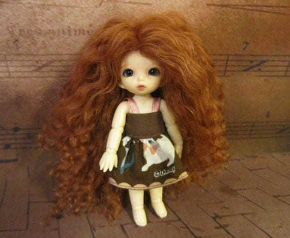RESERVED listing for lclune - Curly Dark Auburn mohair wig for PukiPuki / Brownie / other tiny doll