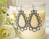 Matte Black Lace Titanium Earrings Romantic Gothic Scallop Edge Filigree