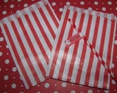Treat Bags In Pretty Red/White Stripes 24 Bags Bitty Bags Fast Shipping