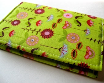 Credit Card Case, Business Card Cover - Love Birds Garden in Green - READY TO SHIP