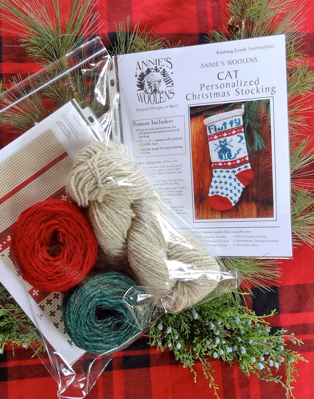 Christmas Stocking Knitting Kits : Pet cat christmas stocking knitting kit for your kitty