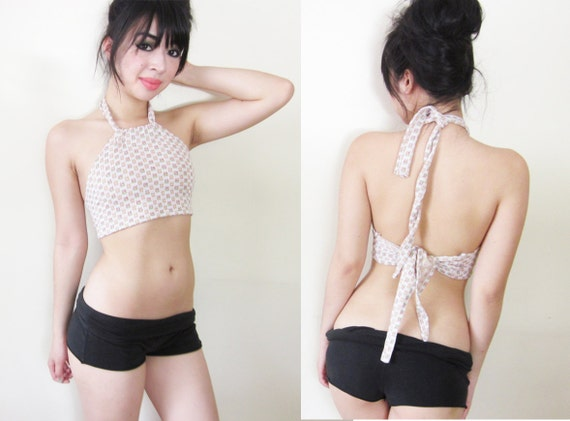 White Geometric Cropped Halter Yoga Festival Top Tank Vintage Fabric/Inspired XS S M