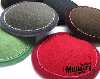 Bulk Buy Round Wool Felt & Velvet Fascinator Hat Bases (10 Bases in your choice of colours)