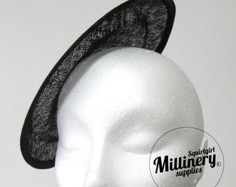 Large Round Black Saucer Sinamay Fascinator Hat Base for Millinery