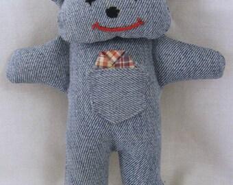 Upcycled jean teddy bear
