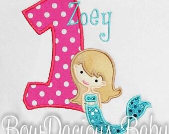 Mermaid Birthday Shirt, Mermaid Number, Any Age, Custom Colors, Personalized, Mermaid Bodysuit, Mermaid First Birthday
