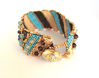 Gold, bronze and Sea foam Peyote cuff bracelet with Swarovski
