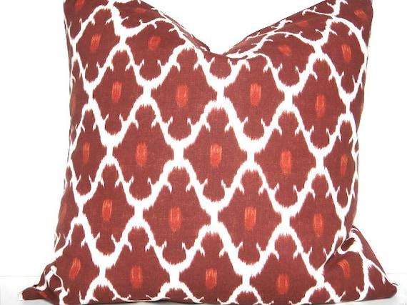 Red Ikat Pillow Cover Geometric White Brick Red Decorative Repurposed 18x18
