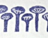 Mushrooms, unmounted, hand carved, border stamp, HALF OFF