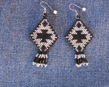 Navajo Rug-Black & Silverlined Crystal
