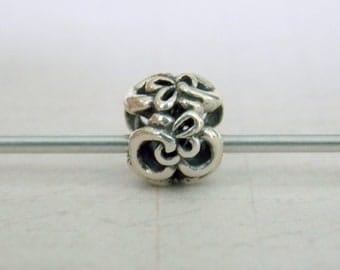 Swirls and Flowers Sterling Silver  Bead