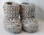 Baby Booties, Crochet Baby  Boots with button top is shown in gray tweed, size 0 to 6 Months