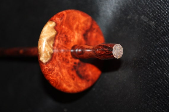 Exotic  Amboyna Burl Top Whorl Drop Spindle by Phil Powell