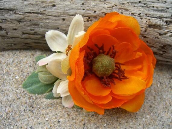 Floral Hair Clip-WOODLAND SURPRISE-Flower Hair Clip, Hair Fascinator, Tangerine Orange, Weddings, Rustic Weddings, Country, Trendy Hair