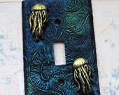 Light Green Jellyfish, one of a kind, light switch cover, beach chic, under the sea, ocean theme