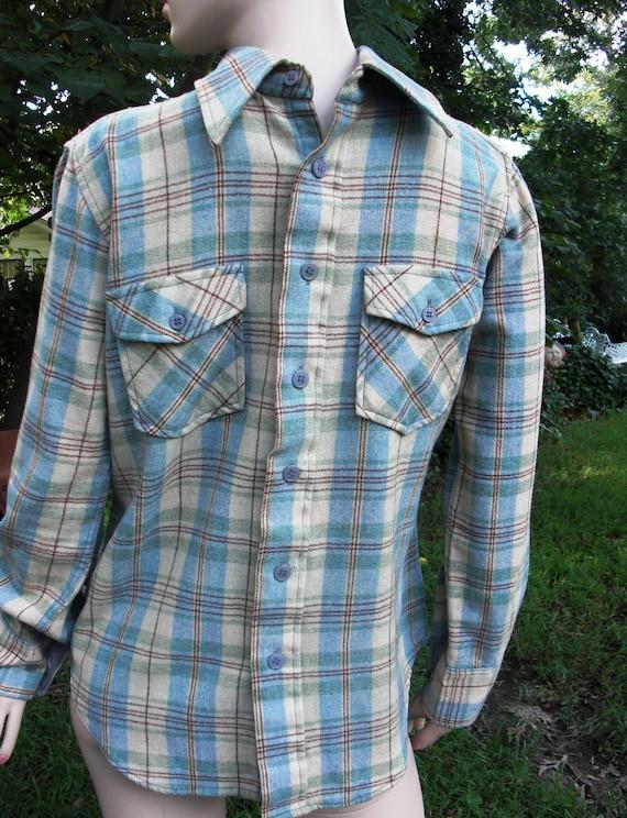 70 39 s men 39 s flannel vintage shirt by van heusen in for Van heusen plaid shirts