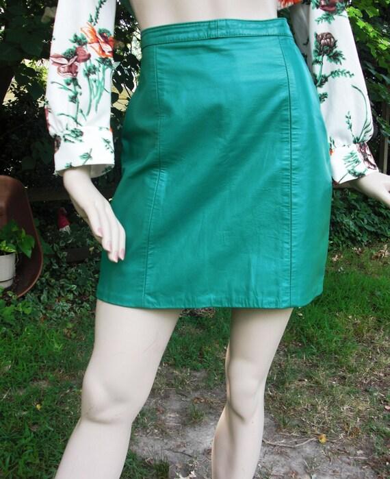 70's Vintage Teal Leather Skirt Size Estimate 4 vintage skirt 70s skirt