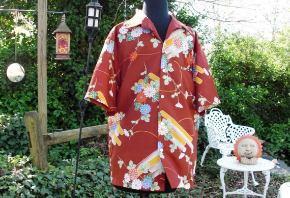 Mens 70s Shirt Vintage Hawaiian Shirt 70s Tropical Shirt by Pacifica in Floral Print Estimated Size L Vintage Tropical Shirt 70s Hawaiian