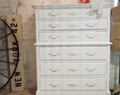 Painted Cottage Chic Shabby White Romantic Dresser CH362