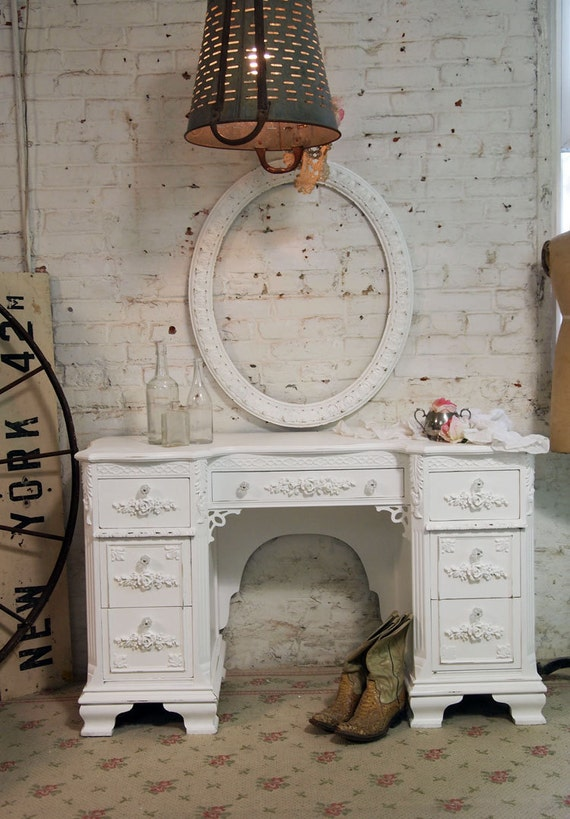 Painted Cottage Chic Shabby White Romantic French Desk DK263