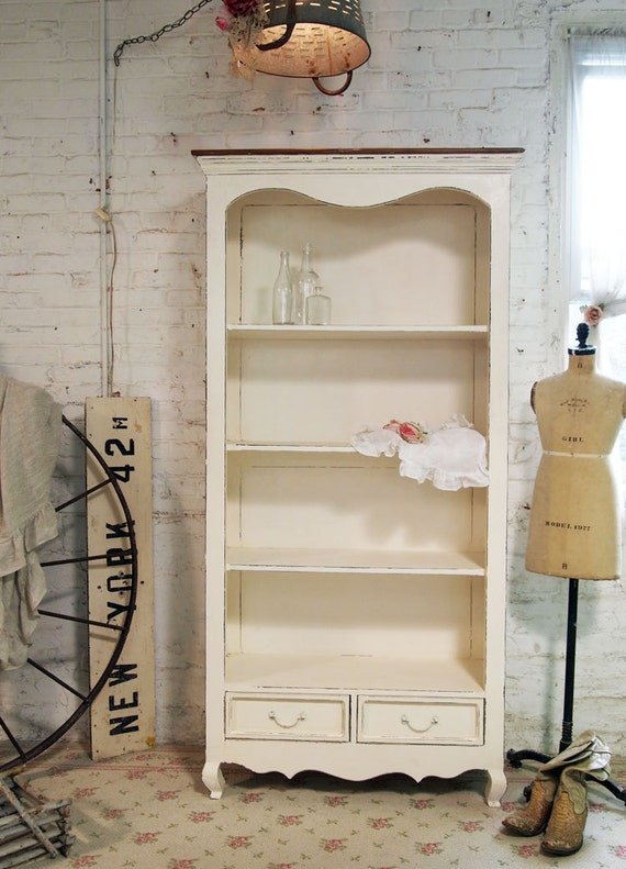 Shabby Chic Bookcases : Cottage romantic shabby cream french bookcase bc