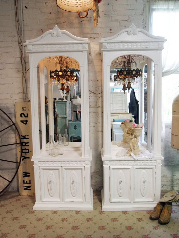 RESERVECarolinePainted Cottage Chic Shabby White French Chandeliers Cabinets VF286