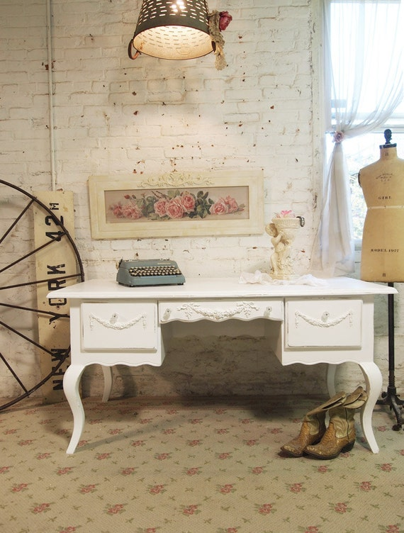 Painted Cottage Chic Shabby White French Reception Desk DK265