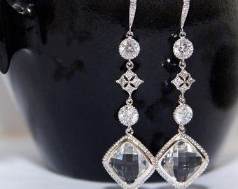 Bahija - Vintage Bridal Earrings, Clear Framed Rounded Diamond Glass Crystal, Big Diamond Earrings, Victorian earrings, Bridesmaids earrings