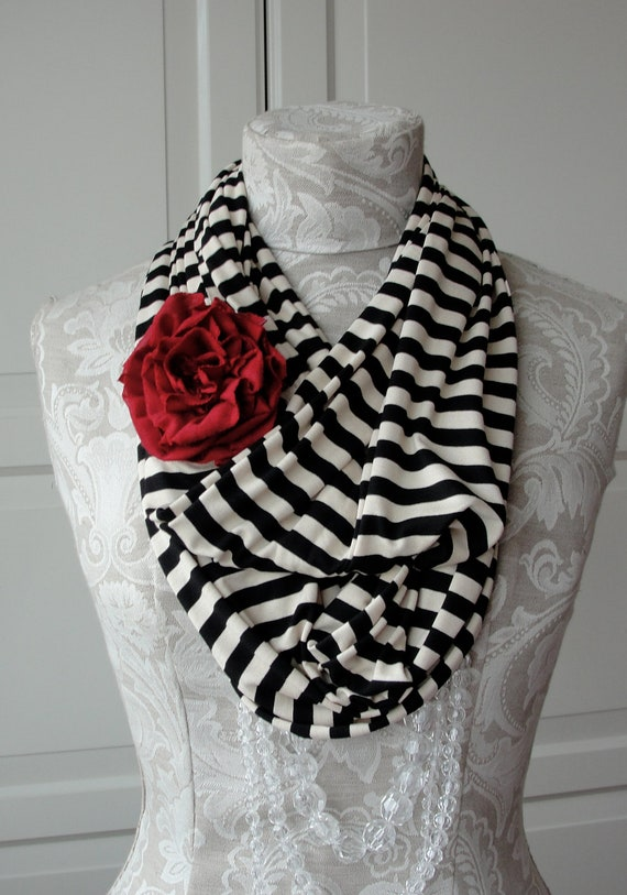Snood Scarf in BOLD stripe fabric with detachable ROSE pin by FAIRYTALE13.