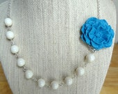 Cyan Blue Cabbage Rose Asymmetrical Statement Necklace Bridesmaid Necklace Something Blue Bridal Cornflower Blue