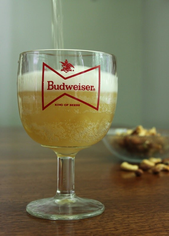 Original Budweiser Beer Goblet, Mug, Glass - vintage 1980s - heavy duty (not a reproduction)